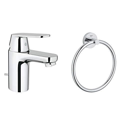 Grohe Eurosmart 2337700E - Grifo de lavabo con vaciador automático, S + Grohe Essentials - Toallero argolla, fijación empotrada (40365001)