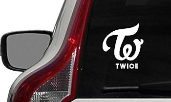 Twice Text Logo Car Vinyl Sticker Decal Bumper Sticker for Auto Cars Trucks Windshield Custom Walls Windows Ipad MacBook Laptop Home and More  White
