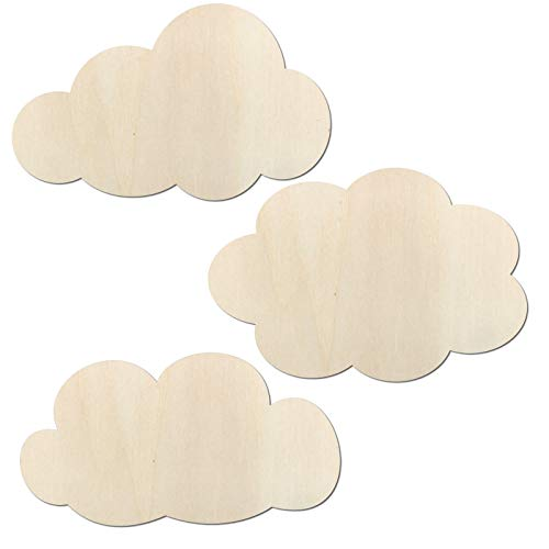 Kleenes Traumhandel - Juego de 3 nubes - Decoración para dormitorio de hasta 80 cm de ancho por nube de madera (30 cm de ancho).