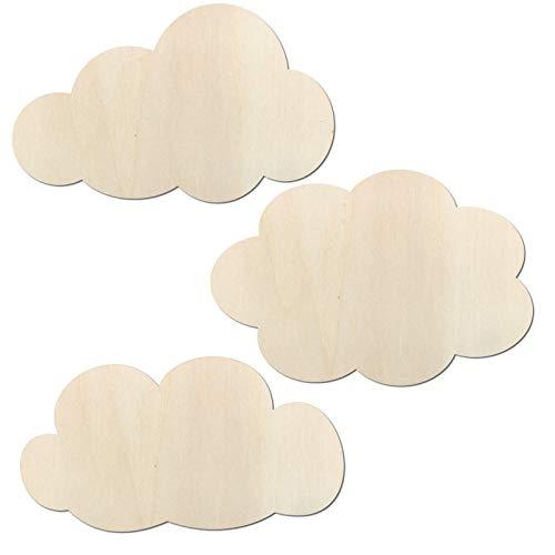 Kleenes Traumhandel - 3er Set Wolken - Schlafzimmer Deko bis 80 cm Breite je Wolke aus Holz (20 cm breit)