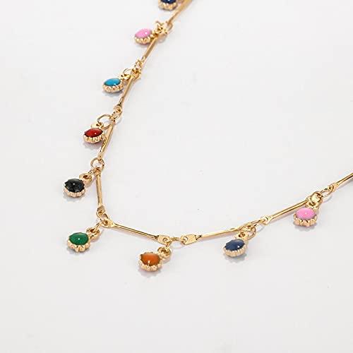 HJURTB Collar de Cadena de Piedra Colorida de zoshi Bohemio para Mujer Collar de gargantillas Cortas de Color Dorado Plateado joyería de Fiesta Encantadora