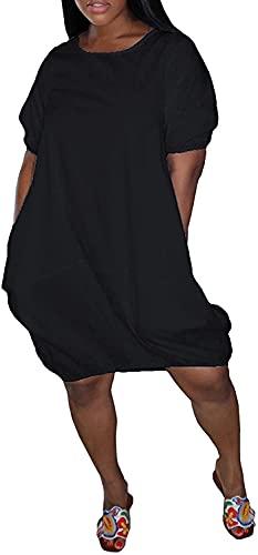 LYDIANZI Vestido para Mujeres Más Talla De Primavera Vestidos De Novia De Verano con Bolsillo para Mujer Switch Switch De Manga Corta Vestidos De Rodilla Media(Size:Grande,Color:Black-002)