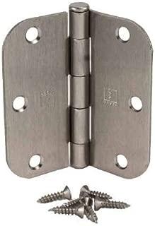 """(Pack of 3) 3 1/2 Inch Satin Nickel Door Hinges with 5/8"""" Radius Corners"""