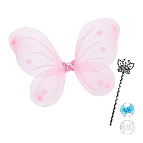 Relaxdays Feenflügel mit Zauberstab, Fee Kostüm Kinder, Flügel & Zepter, Glitzer, Mädchen, Feenset, pink