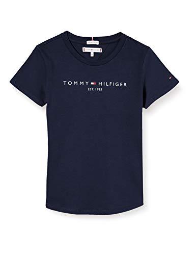 Tommy Hilfiger Mädchen Essential Tee S/S T-Shirt, Blue, 128 (Herstellergröße: 8)