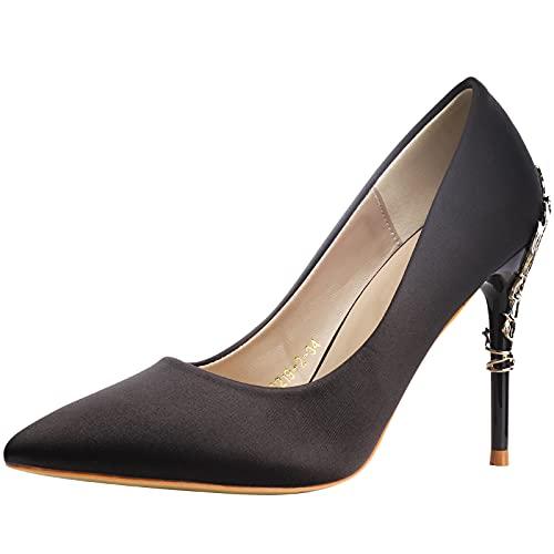 wealsex Mujer Zapatos de Tacón Satín Clásico Stilettos High Heels Fiesta Boda...