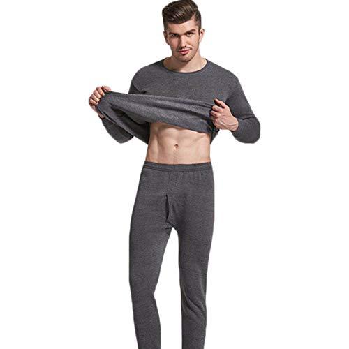 Frdun Conjunto de pijama para hombre sin costuras, elástico, de terciopelo cálido, ropa interior...