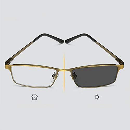 Progressive Lesebrille, Dual-Licht Intelligente Farbwechsel Lesebrille Vision-Assisted Brille, Außen Reader, Männer, 1.0 (Size : S)