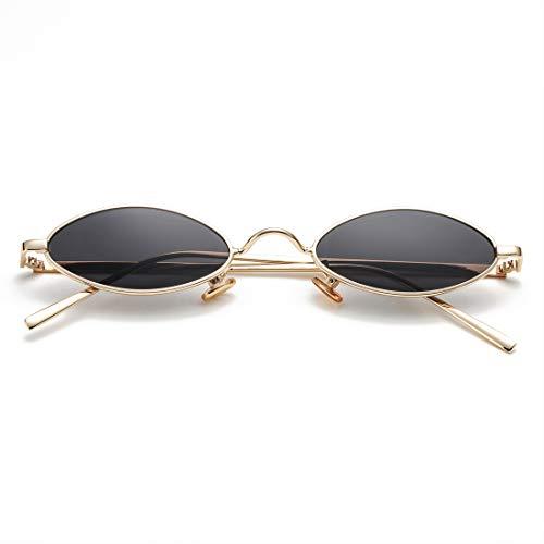 Vintage Small Oval Sunglasses for Women Men Hippie Cool Metal Frame Sun Glasses (Gold Frame/Black Lens)