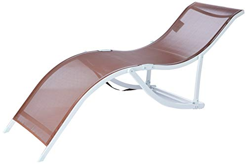 Cadeira Espreguiçadeira 's' Aluminio Textilene (357) - Marrom Bel Fix Marrom