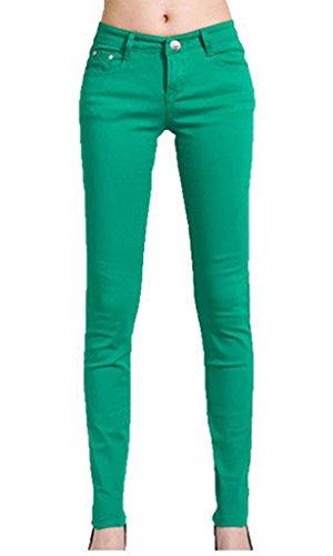 Vanilla Inc - Jeans da donna super elasticizzati, taglia 40-46 Verde giada 8