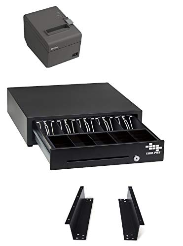POS Hardware Bundle for Square - Cash Drawer, Mounting Brackets, Thermal Receipt Printer [Compatible with Square Stand and Square Register]