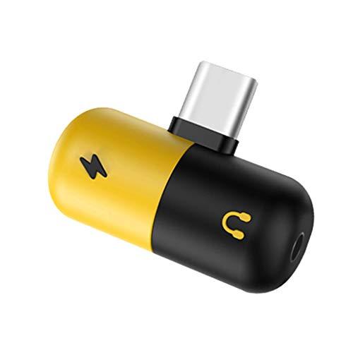 Guangcailun Typ-C bis 3,5 mm Kopfhörer-Ladewandler Jack Adapter 2 in 1 USB-C o-Kabel-Konverter Lade Splitter-Kopfhörer-Adapters