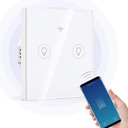 Interruptor wifi Interruptores de luz táctil de WiFi Interruptor de luz de pared de panel de vidrio Alexa Smart Light Switch 2 Gang 1 Way, trabaja con Alexa Home, SmartLife App Control,  Se requiere
