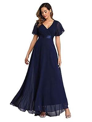 Women's Shopping Long V Neck Bridesmaid Dresses for Wedding NV, Size S Navy Blue