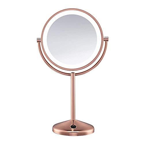 KJDSW Espejo de Maquillaje de vanidad con luz LED de Doble Cara con Aumento de 1x / 10x