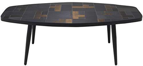 Casa Padrino Wohnzimmertisch Mehrfarbig/Schwarz 120 x 60 x H. 40 cm - Couchtisch mit Schieferplatten & Keramik Fliesen