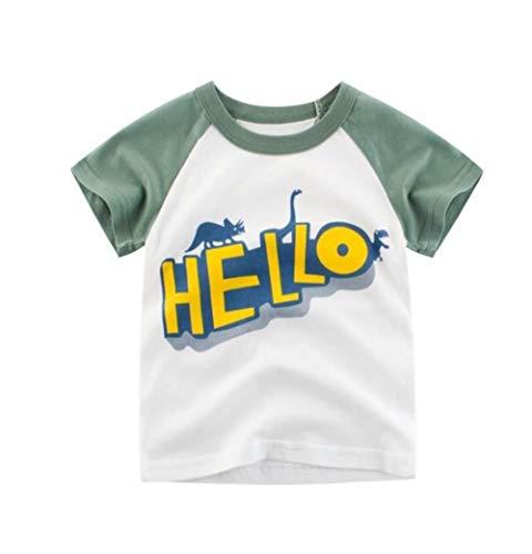 WANG Cartoon Print Baby Boys Dinosaur T Shirt for Summer Infant Kids Boys Girls Lion T Shirts Clothes Cotton Toddler T-Shirts,Army Green,6T