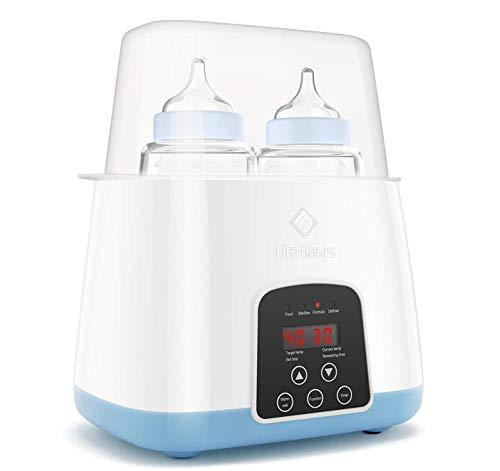 Baby Flaschenwärmer, 6 in 1 Smart Thermostat Baby Speisenwärmer mit schneller Erwärmung Milch inkl.LED Anzeige und Temperaturregelung, Sterilisator für Babyflaschen, BPA frei MEHRWEG
