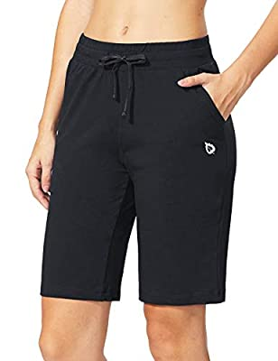"BALEAF Women's 10"" Active Bermuda Shorts Jersey Walking Knit Shorts Pajama Long Shorts Deep Pockets Black Size S"