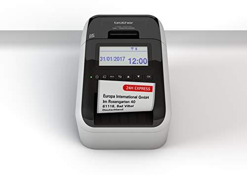 Brother QL-820NWB Netzwerk-Etikettendrucker (mit Rot-Schwarz-Druckfunktion, Schnittstellen: USB, WLAN, LAN, Bluetooth; beleuchtetes Grafik-LCD)