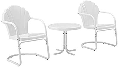 Crosley Furniture KO10011WH Tulip Retro Metal 3-Piece Seating Set (2 Chairs and Side Table), White