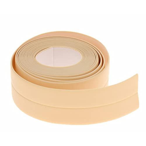 Cinta adhesiva resistente al moho y al agua, paquete de 2, 3,2 m, adhesivo opaco de un solo lado, adhesivo para esquinas de fregadero, fuerte adherencia, alta resistencia a la tracción (2,2 cm, beige)