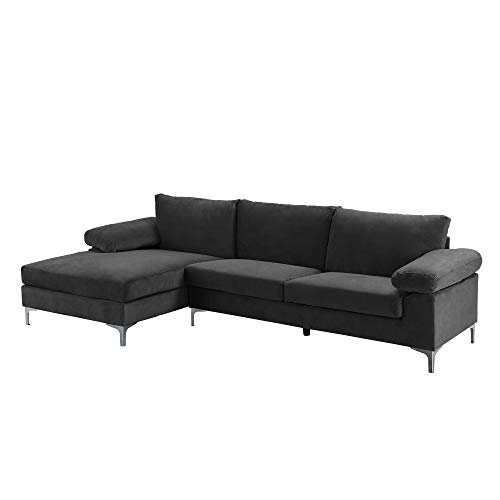 Casa AndreaMilano Modern Large Velvet Fabric Sectional Sofa, L-Shape Couch with Extra Wide Chaise Lounge, Silver