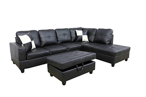 Sectional Sofa with Chaise and Storage Ottoman|3-Piece Contemporary L Shape Couch Living Room Furniture|Faux Leather Upholstery|High-Density Memory Foam Cushion|(2) Toss Pillows(Right Facing, Black)