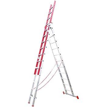 Escalera Triple Transformable de Fibra de Vidrio y Aluminio 3 Tramos Extensibles (3+3+3 Mts). Escada 3 lances transformável em alumínio e fibra de vidro. Alt. Max. 7.50 m (3x11): Amazon.es: Bricolaje y herramientas