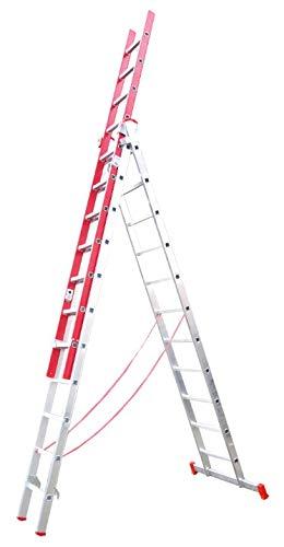 Escalera Triple Transformable de Fibra de Vidrio y Aluminio 3 Tramos Extensibles (3+3+3 Mts). Escada 3 lances transformável em alumínio e fibra de vidro. Alt. Max. 7.50 m (3x11)