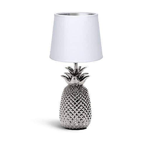Aigostar Lampada da Comodino, Moderna Lampada da Tavolo Base in Ceramica Paralume in Stoffa, Attacco E14, 16.5 * 16.5 * 36cm Cavo 1.3 Metri, Design Ananas.