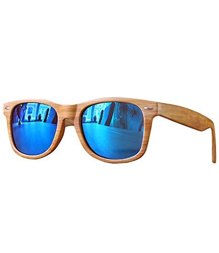 Caripe Retro Nerd Vintage Sonnenbrille verspiegelt Damen Herren 80er - SP (Holzoptik Natur - eisblau verspiegelt)