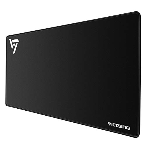VicTsing [30% Larger Extended Gaming Mouse Pad with Stitched Edges, Long XXL Mousepad (31.5x15.7In), Desk Pad Keyboard Mat, Non-Slip Base, Water-Resistant, for Work & Gaming, Office & Home, Black