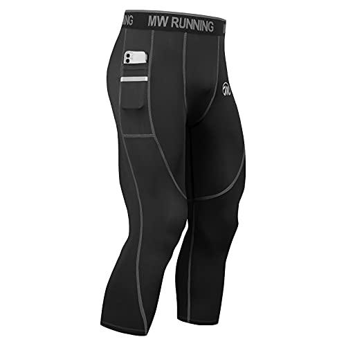 MEETWEE Leggins Uomo, 3/4 Pantaloni Running Calzamaglia con 2 Tasche Laterali Compressione Tights Sportivo Calzamaglie for Corsa Jogging Fitness