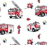Javi Baumwollstoff Dekostoff Feuerwehr Helm Feuerwehrautos