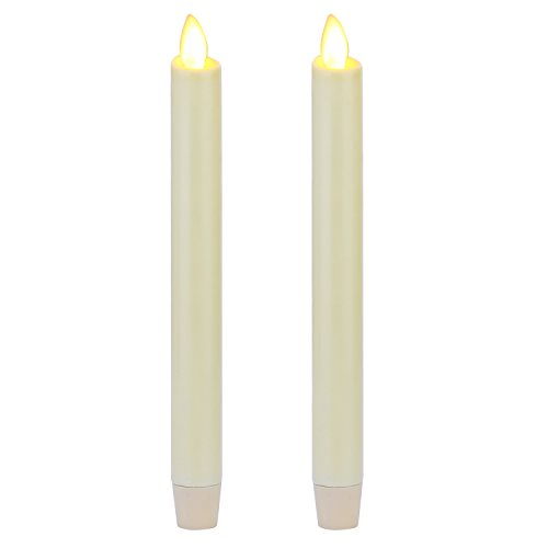 "Ksperway 8"" Set of 2 Ivory Unscented Wax Flameless Taper Candle with Moving Wick,Timer and Remote"