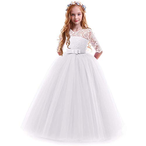 IBTOM CASTLE Spring Flower Girl Wedding Bridesmaid 3/4 Sleeves Kids Floral Lace Pageant Communion Princess Dress Prom Evening Dance Gown White 7-8 Years