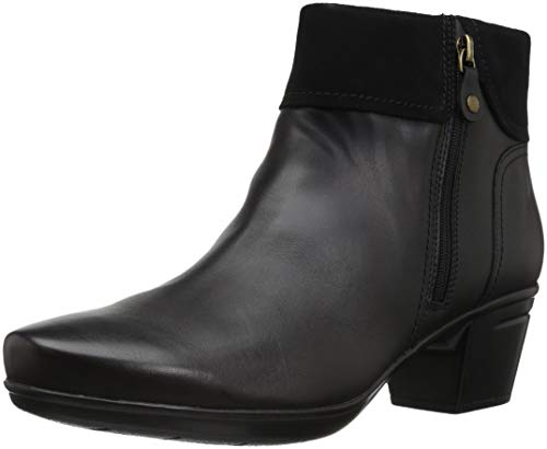 Clarks Women's Emslie Twist Fashion Boot, Black Leather/Suede Combi, 9 M US