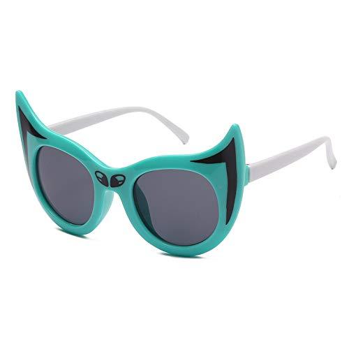 Lindo niño Gafas de Sol Hombres y Mujeres niños Anti-UV Gafas Dibujos Animados Pequeños Gafas de Sol Fox Zhenzhiyangshangmao (Size : Green)
