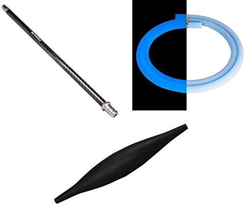 Shisha Set Blackout Carbon Mundstück + Ice Bazooka schwarz | inklusive Glow Blue Schlauch | 40cm - Schwarz