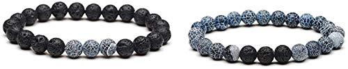 SUCICI Pulsera de Piedra Mujer, 7 Chakra 8mm Perlas de Piedra Natural Gris Negro Brazalete joyería Reza Yoga energía Equilibrio Reiki Encanto Ilimitado Regalo para Pareja 2pcs / Set