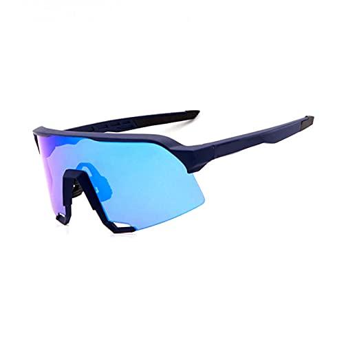 YSPS Gafas de Ciclismo Gafas de Sol Deportivas polarizadas con 3 Lentes Intercambiables para Ciclismo, béisbol, Pesca, Pista de esquí, Golf E