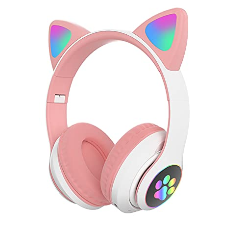Kids Headphones, TOKANI Bluetooth Wireless Headphones for Kids Teens Adults, Over-Ear Bluetooth Headphones with Microphone, Cat Ear Headphones for Girls Women (Pink)