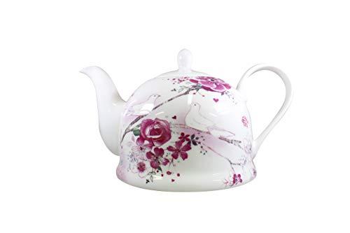 Jameson & Tailor Iglu Teekanne Kaffeekanne Rosen und Tauben/Hochzeit Brillant-Porzellan 1100ml Füllmenge