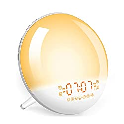 Sunrise Alarm Clock Wake-Up Light - Natural Light Alarm Clocks,with FM Radio,Sunrise/Sunset Simulation,Snooze,Sleep Aid,Nightlight,USB Charger,4 Alarms,7 Sounds.20 Brightness,for Kids,Heavy Sleepers