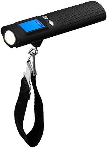 newnet Bilancia per Bagagli Bilancia da Viaggio per Valigia, Portatile con Power Bank da 2600 mAh, Torcia LED, Max 50 kg, Display LCD-Blu