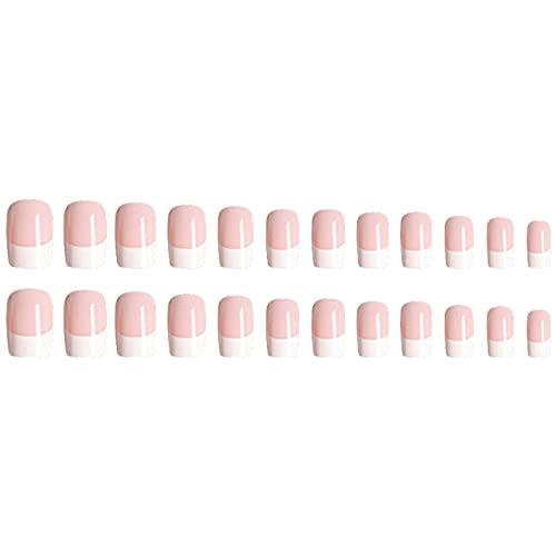 Faux ongles de courts et naturels, Anself 24 PCS 12 tailles différentes, kit faux ongles, french manucure Naturel Manucure Ongles Nail Art Tip Décor Outils faux ongles et accessoires