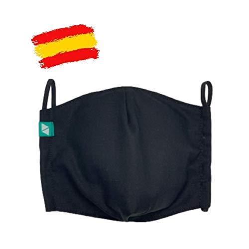 Mascarilla higiénica negra reutilizable T-M ADULTOS con filtro de 5 capas TNT_marca: Brissa España