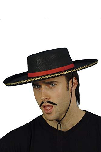 Smiffys Unisex Spanischer Hut mit Kordel, One Size, Schwarz, 7761